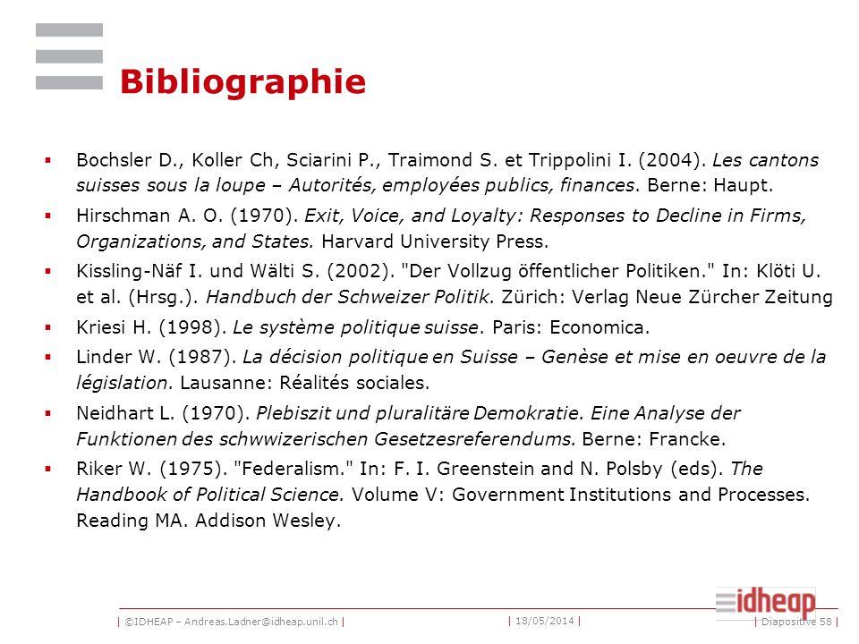 | ©IDHEAP – Andreas.Ladner@idheap.unil.ch | | 18/05/2014 | | Diapositive 58 | Bibliographie Bochsler D., Koller Ch, Sciarini P., Traimond S.