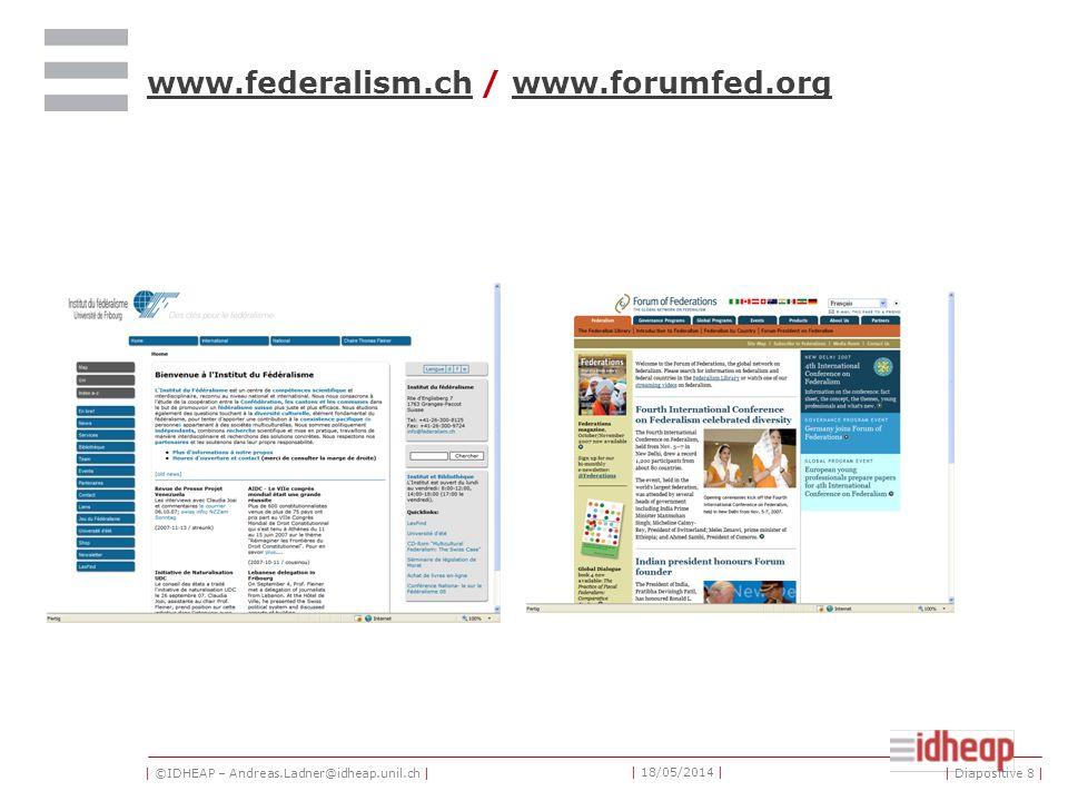 | ©IDHEAP – Andreas.Ladner@idheap.unil.ch | | 18/05/2014 | | Diapositive 8 | www.federalism.chwww.federalism.ch / www.forumfed.orgwww.forumfed.org