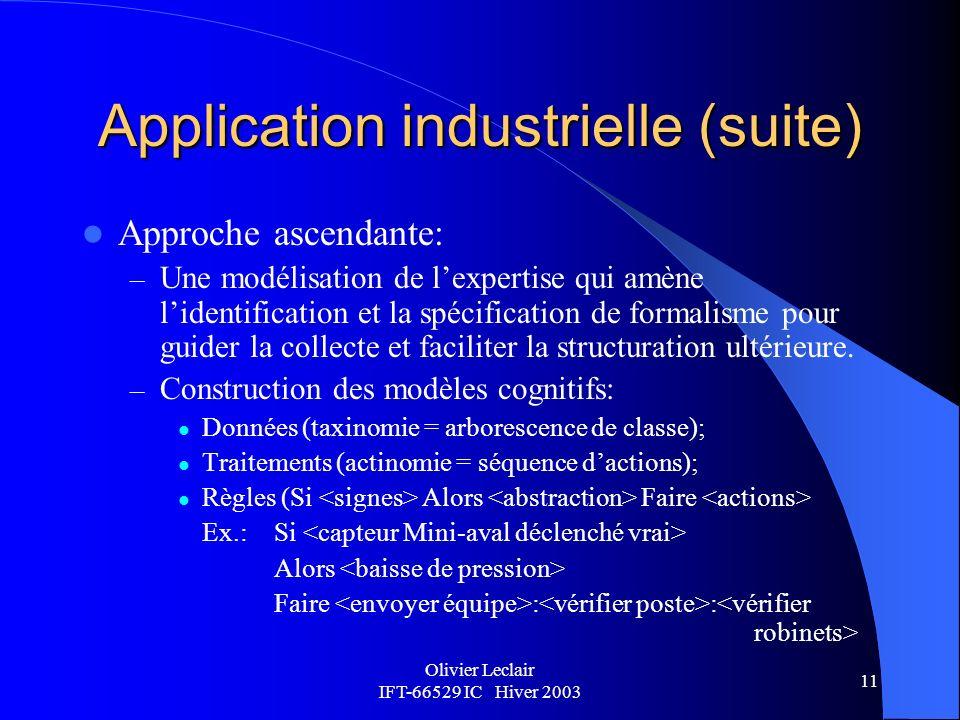 Olivier Leclair IFT-66529 IC Hiver 2003 11 Application industrielle (suite) Approche ascendante: – Une modélisation de lexpertise qui amène lidentification et la spécification de formalisme pour guider la collecte et faciliter la structuration ultérieure.
