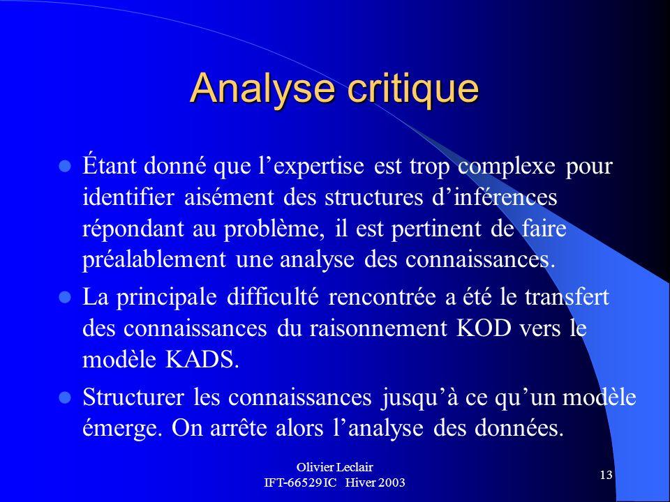 Olivier Leclair IFT-66529 IC Hiver 2003 13 Analyse critique Étant donné que lexpertise est trop complexe pour identifier aisément des structures dinférences répondant au problème, il est pertinent de faire préalablement une analyse des connaissances.
