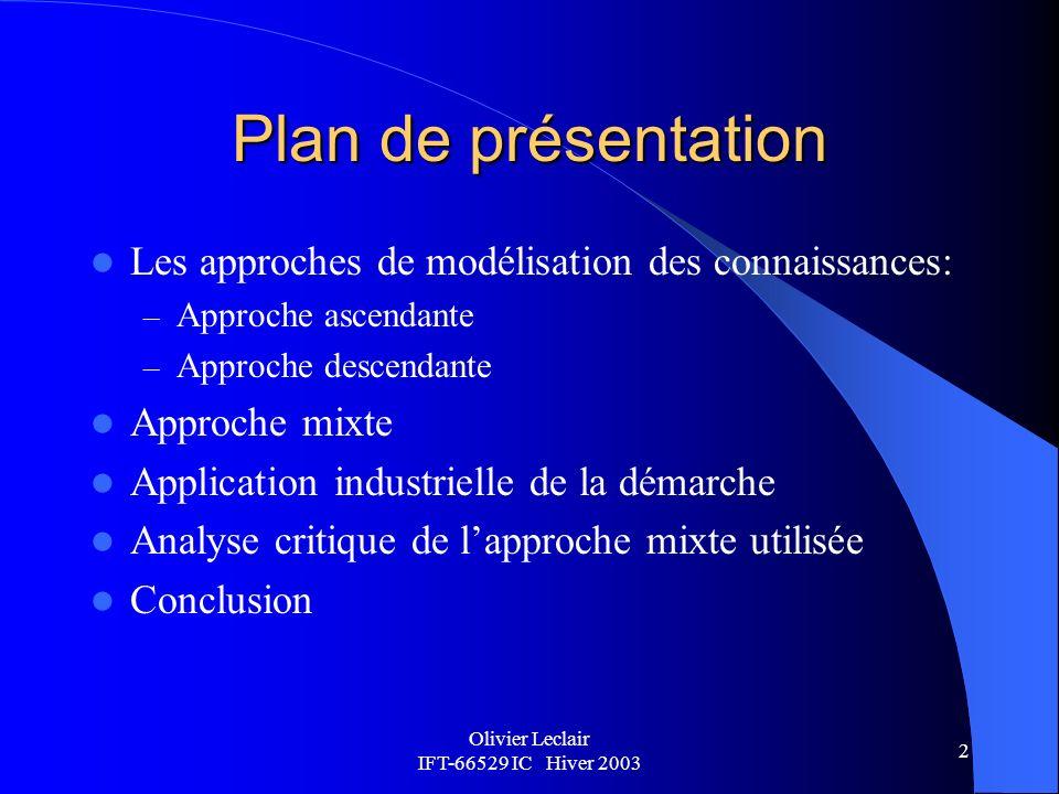 Olivier Leclair IFT-66529 IC Hiver 2003 3 Approches de modélisation des connaissances: approche ascendante Lapproche ascendante consiste à recueillir le maximum de données verbales auprès dun expert et les regrouper pour former un modèle.