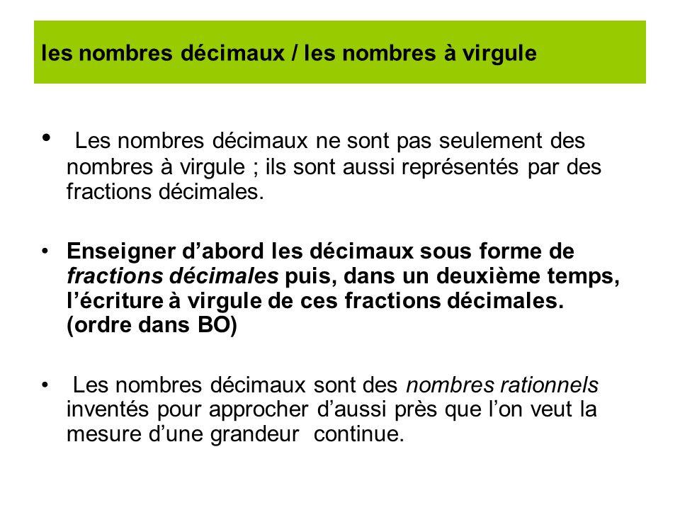 les nombres décimaux / les nombres à virgule Les nombres décimaux ne sont pas seulement des nombres à virgule ; ils sont aussi représentés par des fra