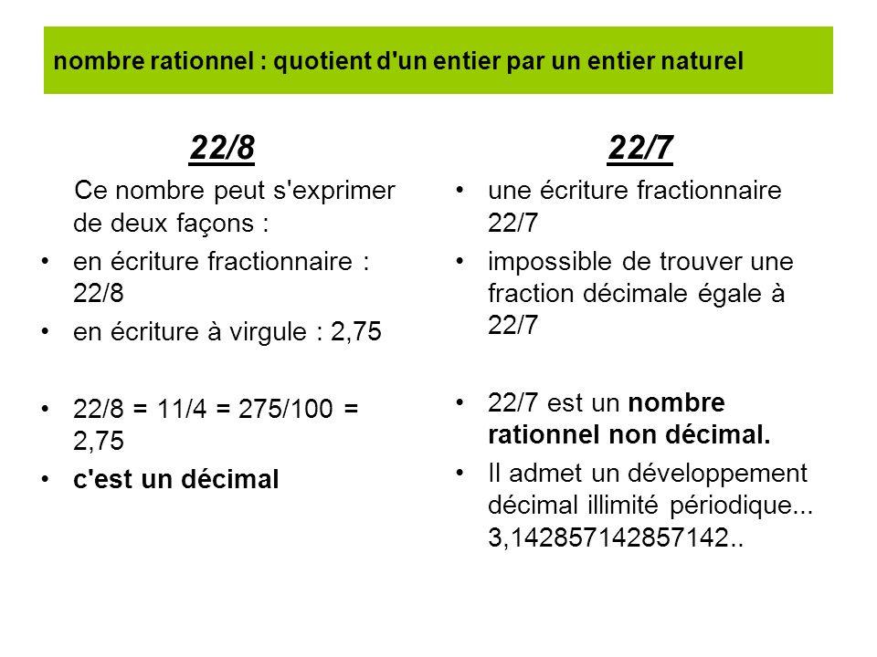 nombre rationnel : quotient d'un entier par un entier naturel 22/8 Ce nombre peut s'exprimer de deux façons : en écriture fractionnaire : 22/8 en écri