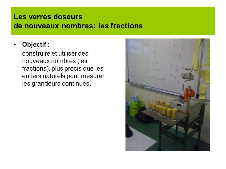 Les verres doseurs de nouveaux nombres: les fractions Objectif : construire et utiliser des nouveaux nombres (les fractions), plus précis que les enti