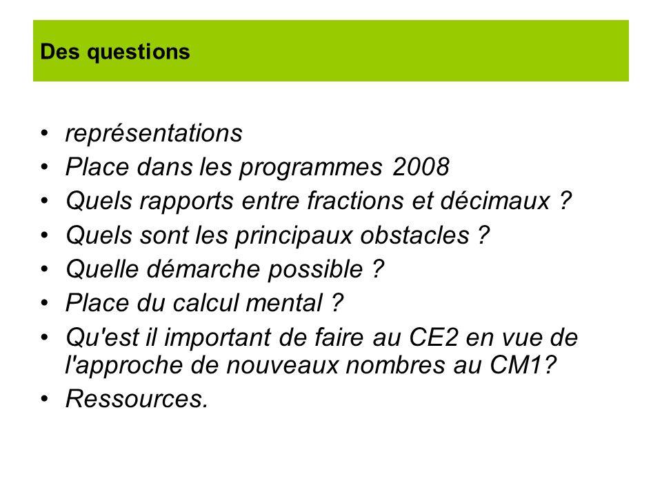 représentations Place dans les programmes 2008 Quels rapports entre fractions et décimaux ? Quels sont les principaux obstacles ? Quelle démarche poss