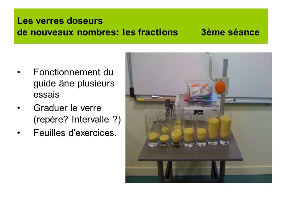 Les verres doseurs de nouveaux nombres: les fractions 3ème séance Fonctionnement du guide âne plusieurs essais Graduer le verre (repère? Intervalle ?)