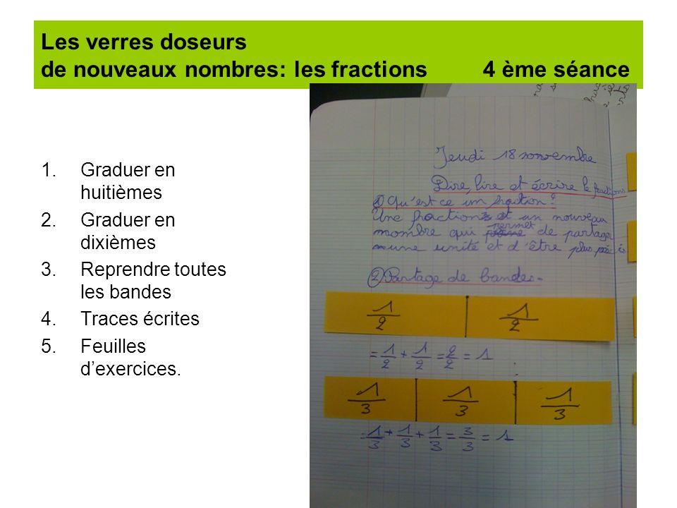 Les verres doseurs de nouveaux nombres: les fractions 4 ème séance 1.Graduer en huitièmes 2.Graduer en dixièmes 3.Reprendre toutes les bandes 4.Traces