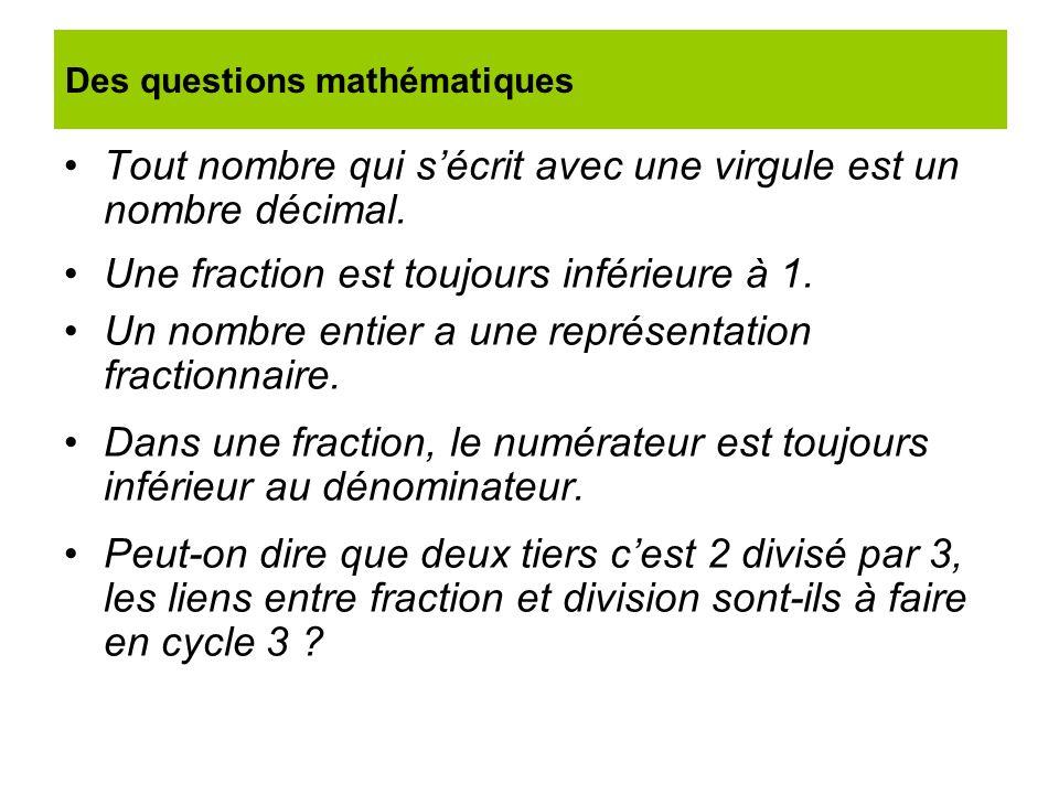 Tout nombre qui sécrit avec une virgule est un nombre décimal. Une fraction est toujours inférieure à 1. Un nombre entier a une représentation fractio