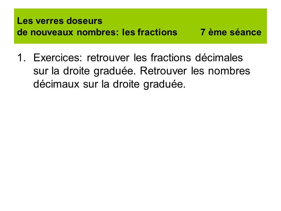 Les verres doseurs de nouveaux nombres: les fractions 7 ème séance 1.Exercices: retrouver les fractions décimales sur la droite graduée. Retrouver les