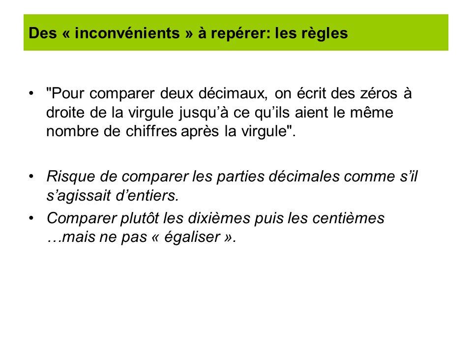 Des « inconvénients » à repérer: les règles