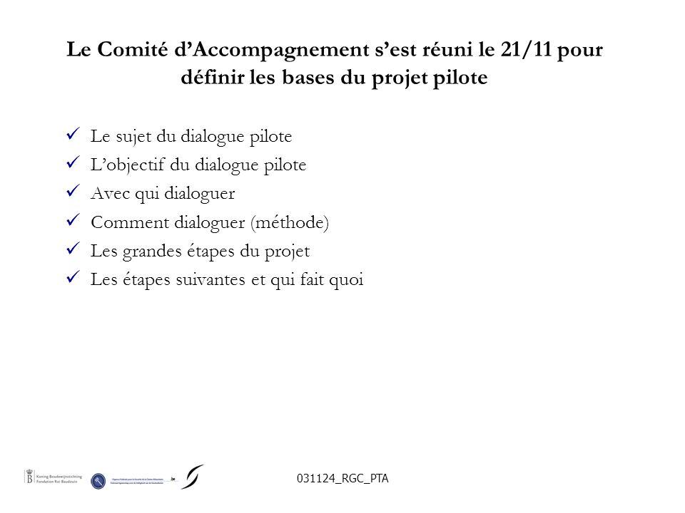 031124_RGC_PTA Le Comité dAccompagnement sest réuni le 21/11 pour définir les bases du projet pilote Le sujet du dialogue pilote Lobjectif du dialogue