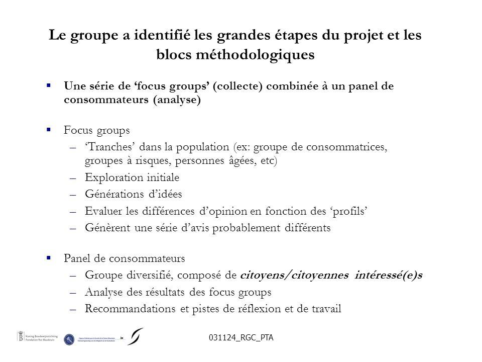 031124_RGC_PTA Le groupe a identifié les grandes étapes du projet et les blocs méthodologiques Une série de focus groups (collecte) combinée à un panel de consommateurs (analyse) Focus groups –Tranches dans la population (ex: groupe de consommatrices, groupes à risques, personnes âgées, etc) –Exploration initiale –Générations didées –Evaluer les différences dopinion en fonction des profils –Génèrent une série davis probablement différents Panel de consommateurs –Groupe diversifié, composé de citoyens/citoyennes intéressé(e)s –Analyse des résultats des focus groups –Recommandations et pistes de réflexion et de travail