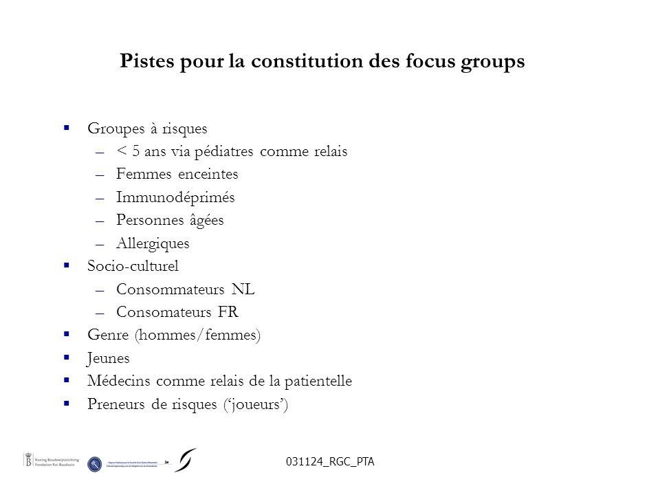 031124_RGC_PTA Pistes pour la constitution des focus groups Groupes à risques –< 5 ans via pédiatres comme relais –Femmes enceintes –Immunodéprimés –P