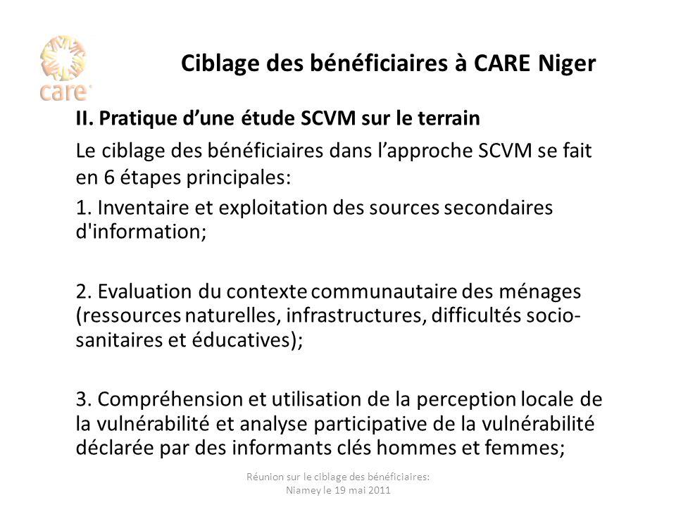 Ciblage des bénéficiaires à CARE Niger II. Pratique dune étude SCVM sur le terrain Le ciblage des bénéficiaires dans lapproche SCVM se fait en 6 étape
