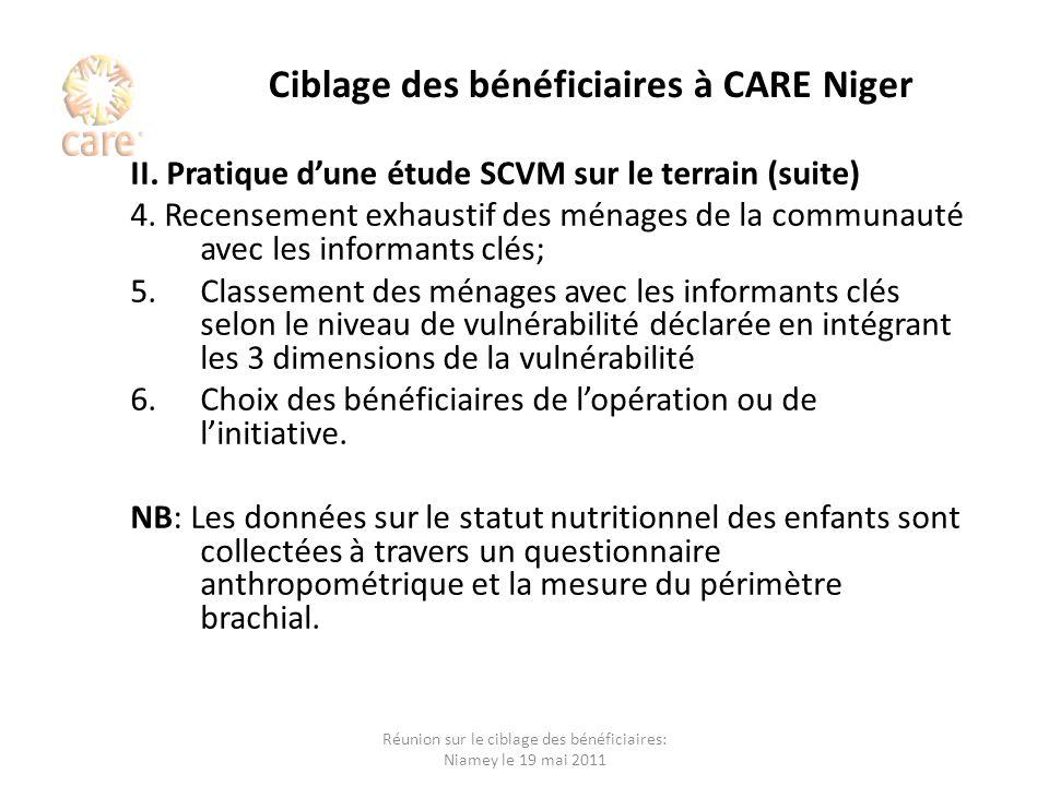 Ciblage des bénéficiaires à CARE Niger II. Pratique dune étude SCVM sur le terrain (suite) 4. Recensement exhaustif des ménages de la communauté avec