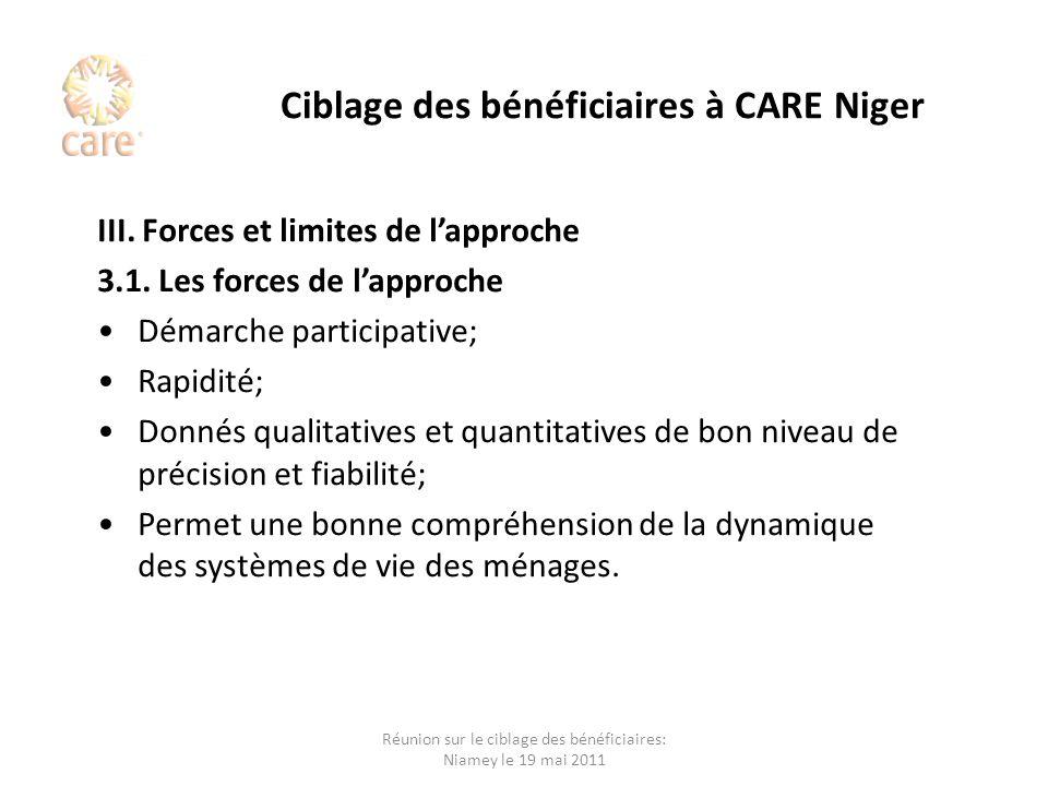 Ciblage des bénéficiaires à CARE Niger III. Forces et limites de lapproche 3.1. Les forces de lapproche Démarche participative; Rapidité; Donnés quali