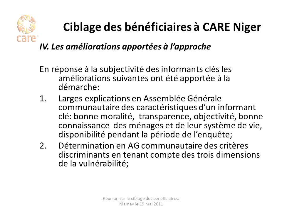 Ciblage des bénéficiaires à CARE Niger IV. Les améliorations apportées à lapproche En réponse à la subjectivité des informants clés les améliorations