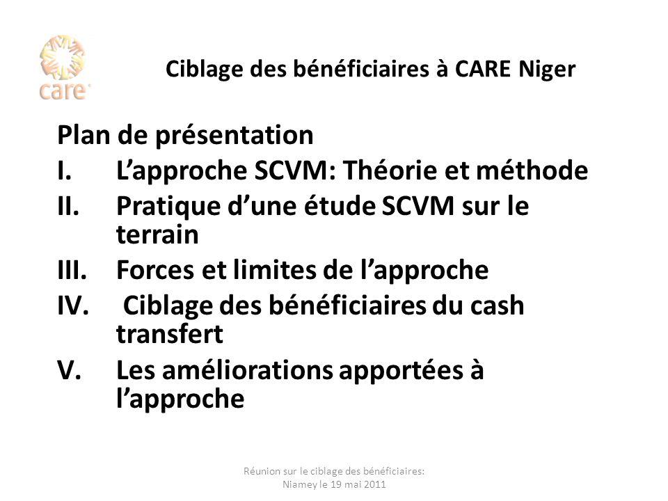 Ciblage des bénéficiaires à CARE Niger Plan de présentation I.Lapproche SCVM: Théorie et méthode II.Pratique dune étude SCVM sur le terrain III.Forces