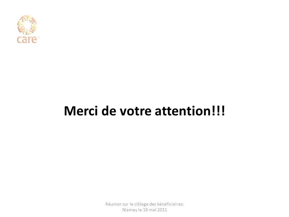 Merci de votre attention!!! Réunion sur le ciblage des bénéficiaires: Niamey le 19 mai 2011