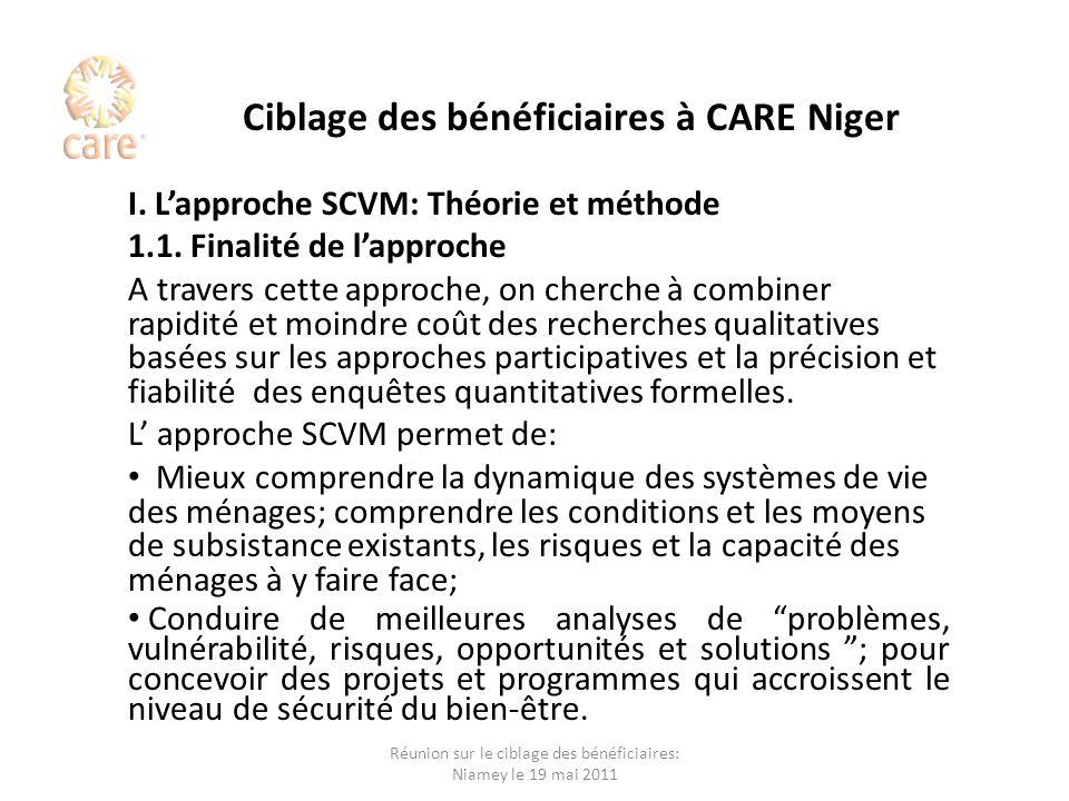 Ciblage des bénéficiaires à CARE Niger I. Lapproche SCVM: Théorie et méthode 1.1. Finalité de lapproche A travers cette approche, on cherche à combine