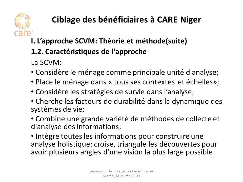 Ciblage des bénéficiaires à CARE Niger I. Lapproche SCVM: Théorie et méthode(suite) 1.2. Caractéristiques de l'approche La SCVM: Considère le ménage c