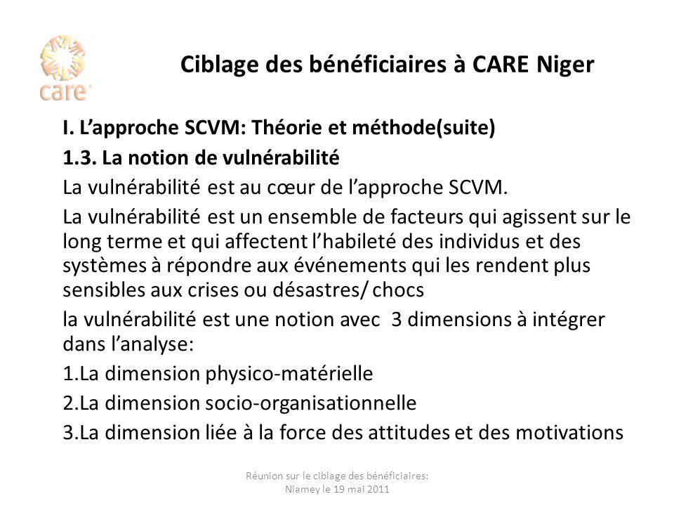 Ciblage des bénéficiaires à CARE Niger I. Lapproche SCVM: Théorie et méthode(suite) 1.3. La notion de vulnérabilité La vulnérabilité est au cœur de la