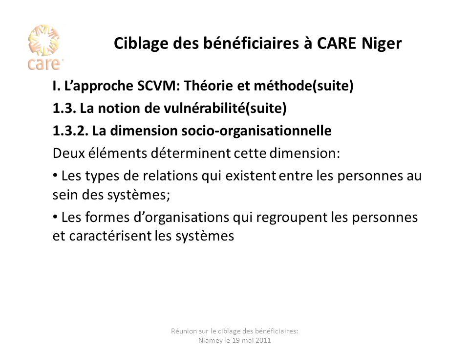 Ciblage des bénéficiaires à CARE Niger I. Lapproche SCVM: Théorie et méthode(suite) 1.3. La notion de vulnérabilité(suite) 1.3.2. La dimension socio-o