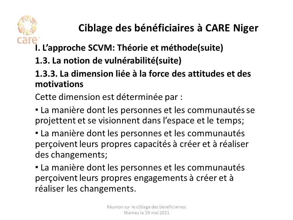 Ciblage des bénéficiaires à CARE Niger I. Lapproche SCVM: Théorie et méthode(suite) 1.3. La notion de vulnérabilité(suite) 1.3.3. La dimension liée à