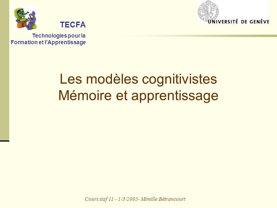 Cours staf 11 - 1/3/2005- Mireille Bétrancourt Les modèles cognitivistes Mémoire et apprentissage TECFA Technologies pour la Formation et lApprentissage