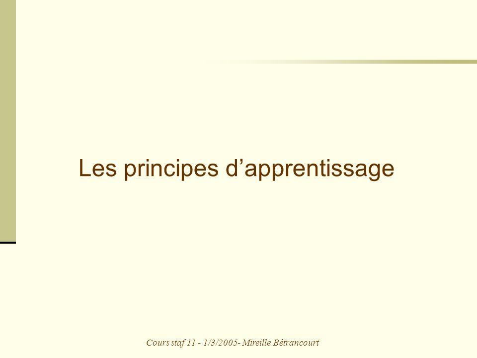 Cours staf 11 - 1/3/2005- Mireille Bétrancourt Les principes dapprentissage