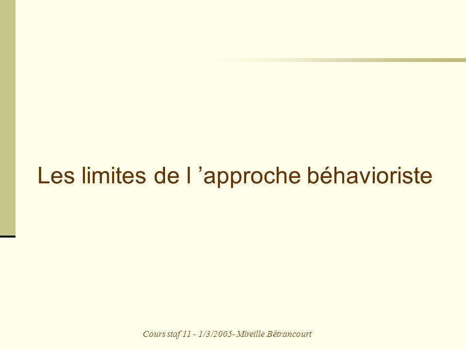 Cours staf 11 - 1/3/2005- Mireille Bétrancourt Les limites de l approche béhavioriste