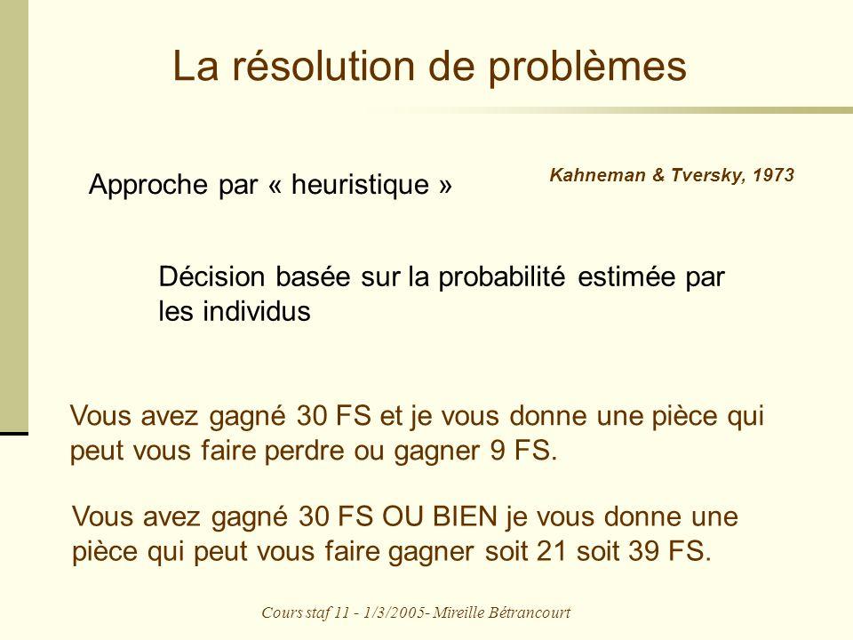 Cours staf 11 - 1/3/2005- Mireille Bétrancourt La résolution de problèmes Approche par « heuristique » Kahneman & Tversky, 1973 Décision basée sur la probabilité estimée par les individus Vous avez gagné 30 FS et je vous donne une pièce qui peut vous faire perdre ou gagner 9 FS.