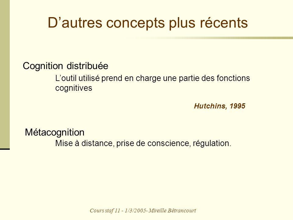 Cours staf 11 - 1/3/2005- Mireille Bétrancourt Dautres concepts plus récents Cognition distribuée Métacognition Mise à distance, prise de conscience, régulation.