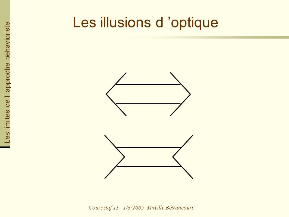 Cours staf 11 - 1/3/2005- Mireille Bétrancourt Les illusions d optique Les limites de l approche béhavioriste