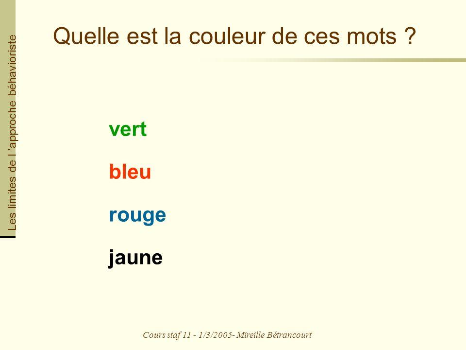 Cours staf 11 - 1/3/2005- Mireille Bétrancourt Quelle est la couleur de ces mots .