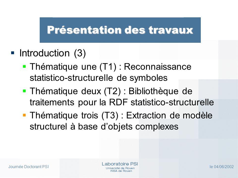 Journée Doctorant PSI le 04/06/2002 Présentation des travaux Introduction (3) Thématique une (T1) : Reconnaissance statistico-structurelle de symboles Thématique deux (T2) : Bibliothèque de traitements pour la RDF statistico-structurelle Thématique trois (T3) : Extraction de modèle structurel à base dobjets complexes