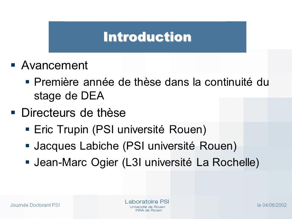 Journée Doctorant PSI le 04/06/2002 Introduction Avancement Première année de thèse dans la continuité du stage de DEA Directeurs de thèse Eric Trupin (PSI université Rouen) Jacques Labiche (PSI université Rouen) Jean-Marc Ogier (L3I université La Rochelle)