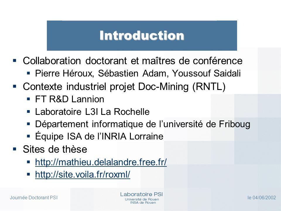 Journée Doctorant PSI le 04/06/2002 Présentation du sujet Conclusions (1) Les approches statistique et structurelle sont nécessaires et complémentaires pour linterprétation de documents techniques dans les cas connectés