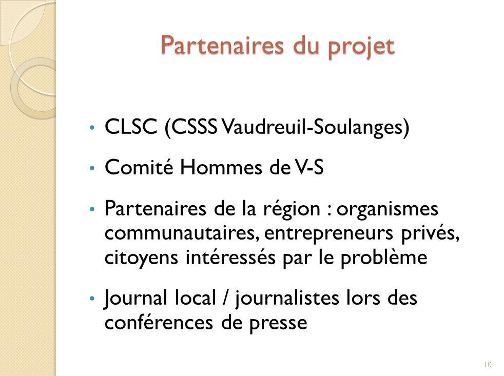 Partenaires du projet CLSC (CSSS Vaudreuil-Soulanges) Comité Hommes de V-S Partenaires de la région : organismes communautaires, entrepreneurs privés, citoyens intéressés par le problème Journal local / journalistes lors des conférences de presse 10