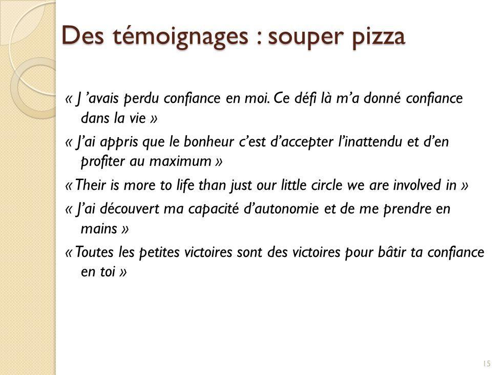 Des témoignages : souper pizza « J avais perdu confiance en moi.