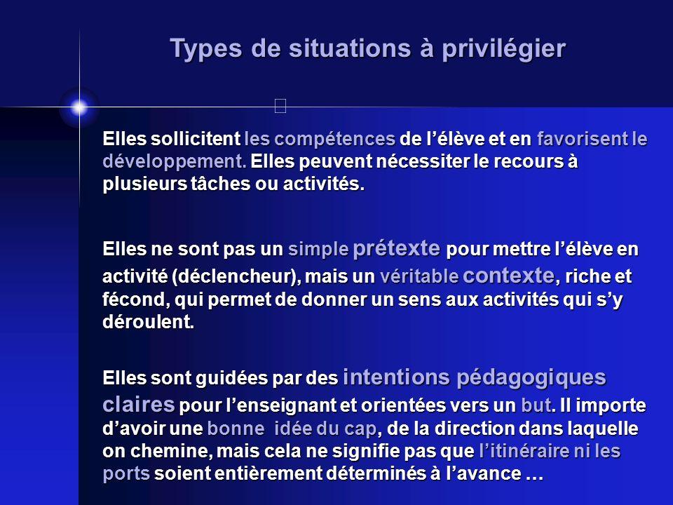 Types de situations à privilégier Elles sollicitent les compétences de lélève et en favorisent le développement. Elles peuvent nécessiter le recours à