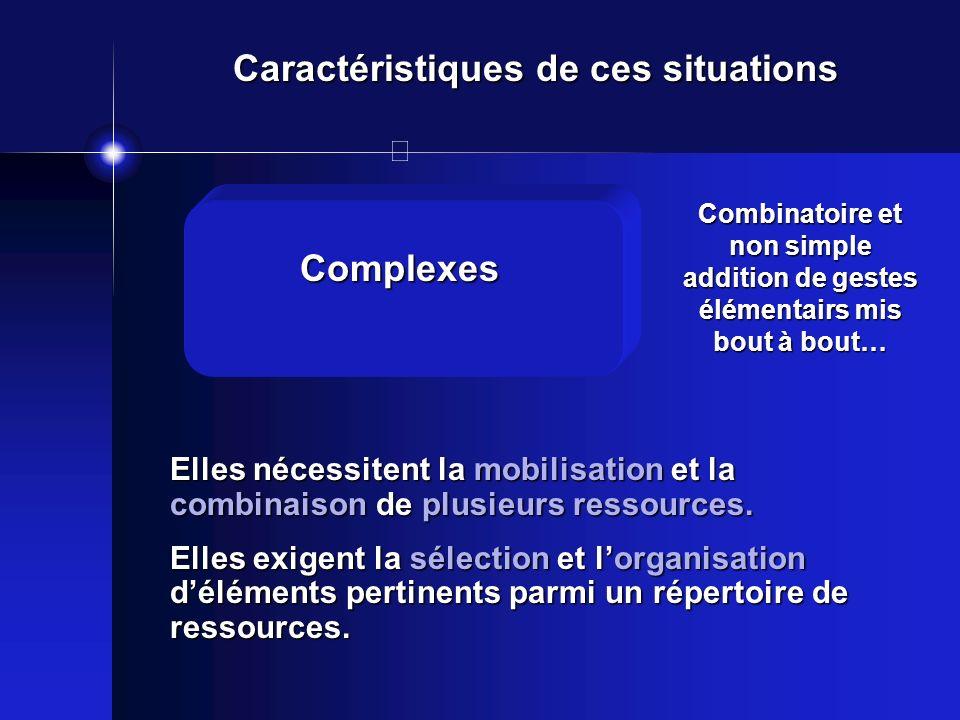 Caractéristiques de ces situations Elles nécessitent la mobilisation et la combinaison de plusieurs ressources. Elles exigent la sélection et lorganis