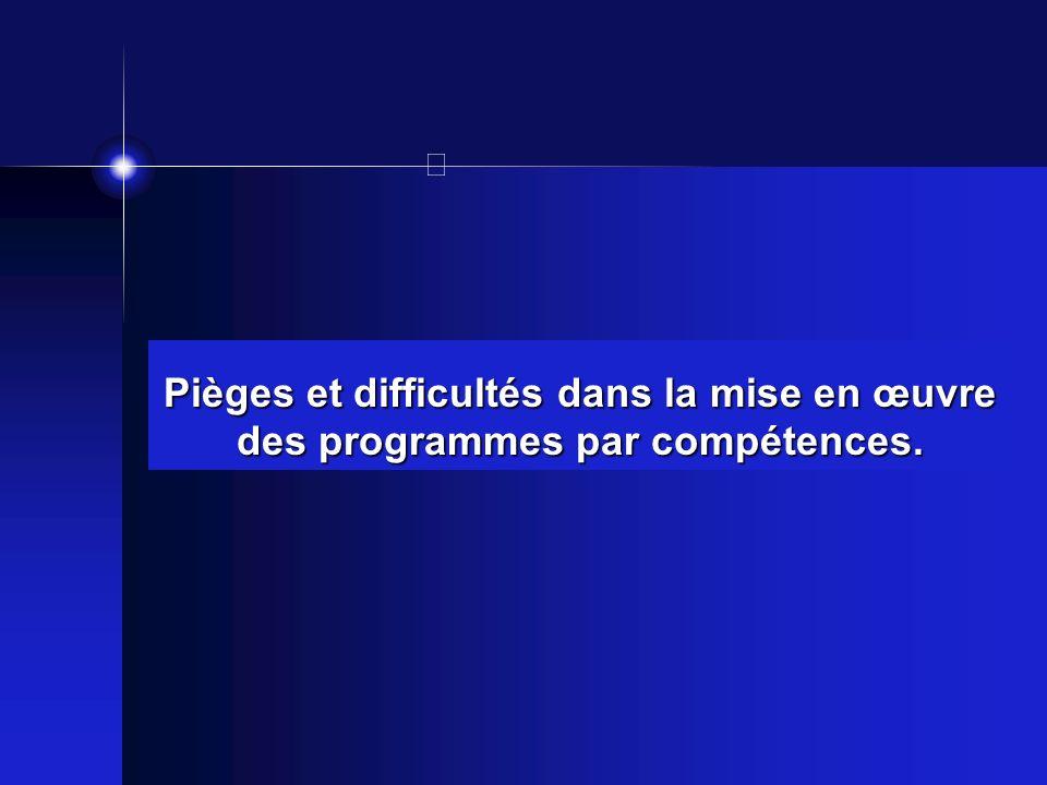 Pièges et difficultés dans la mise en œuvre des programmes par compétences.