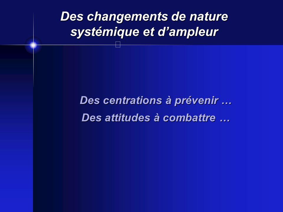 Des changements de nature systémique et dampleur Des centrations à prévenir … Des attitudes à combattre …
