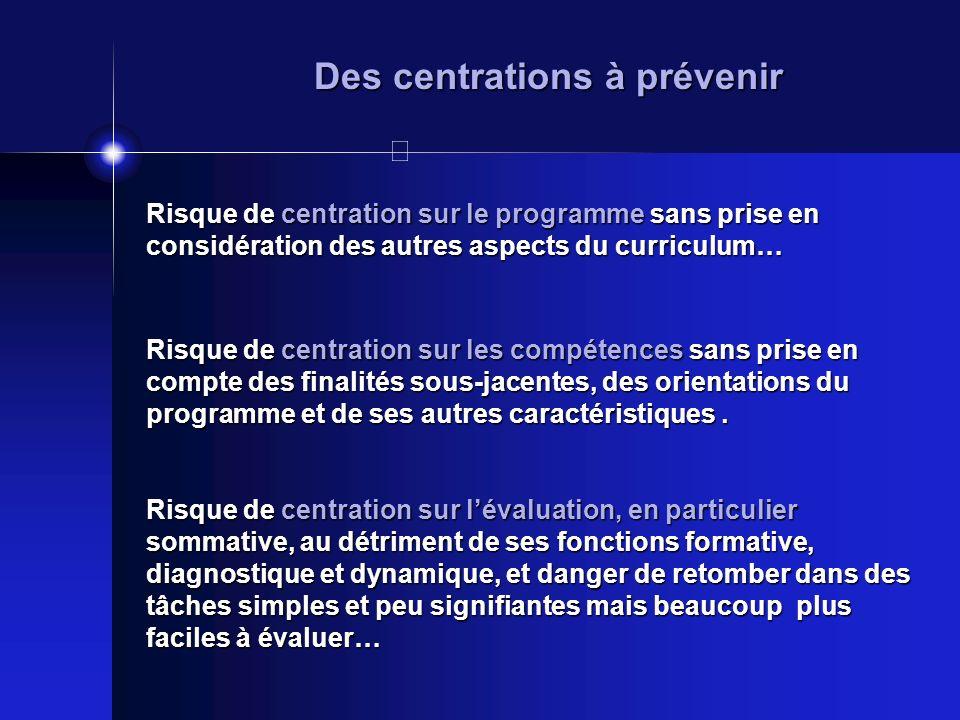 Des centrations à prévenir Risque de centration sur le programme sans prise en considération des autres aspects du curriculum… Risque de centration su