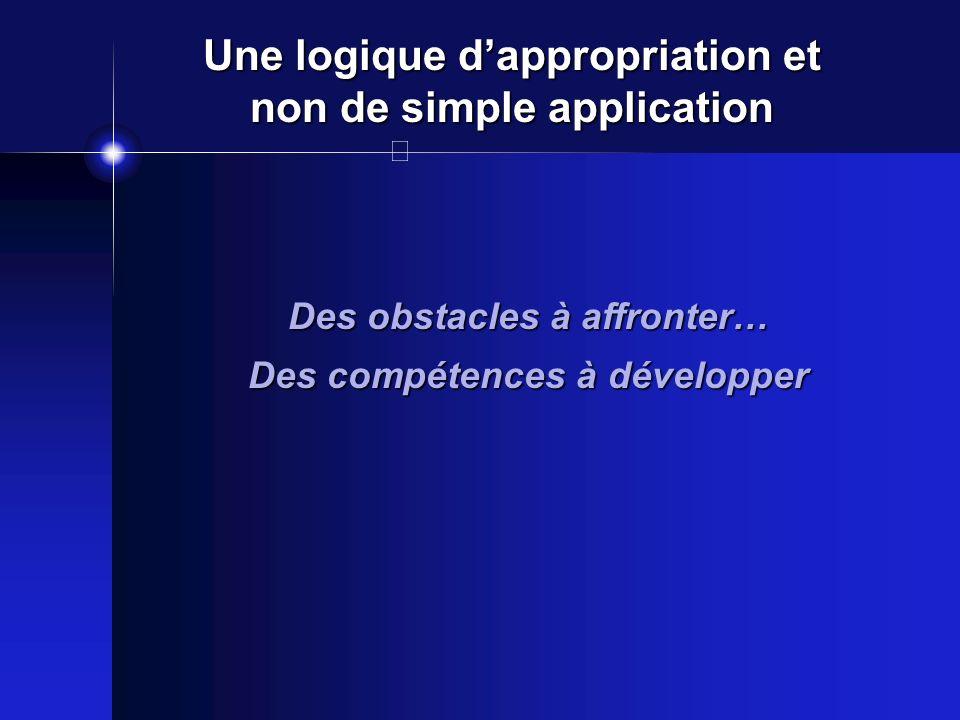 Une logique dappropriation et non de simple application Des obstacles à affronter… Des compétences à développer