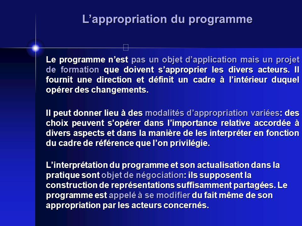 Lappropriation du programme Le programme nest pas un objet dapplication mais un projet de formation que doivent sapproprier les divers acteurs. Il fou