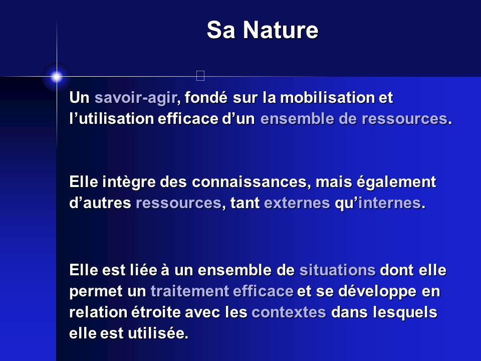 Sa Nature Un savoir-agir, fondé sur la mobilisation et lutilisation efficace dun ensemble de ressources. Elle intègre des connaissances, mais égalemen