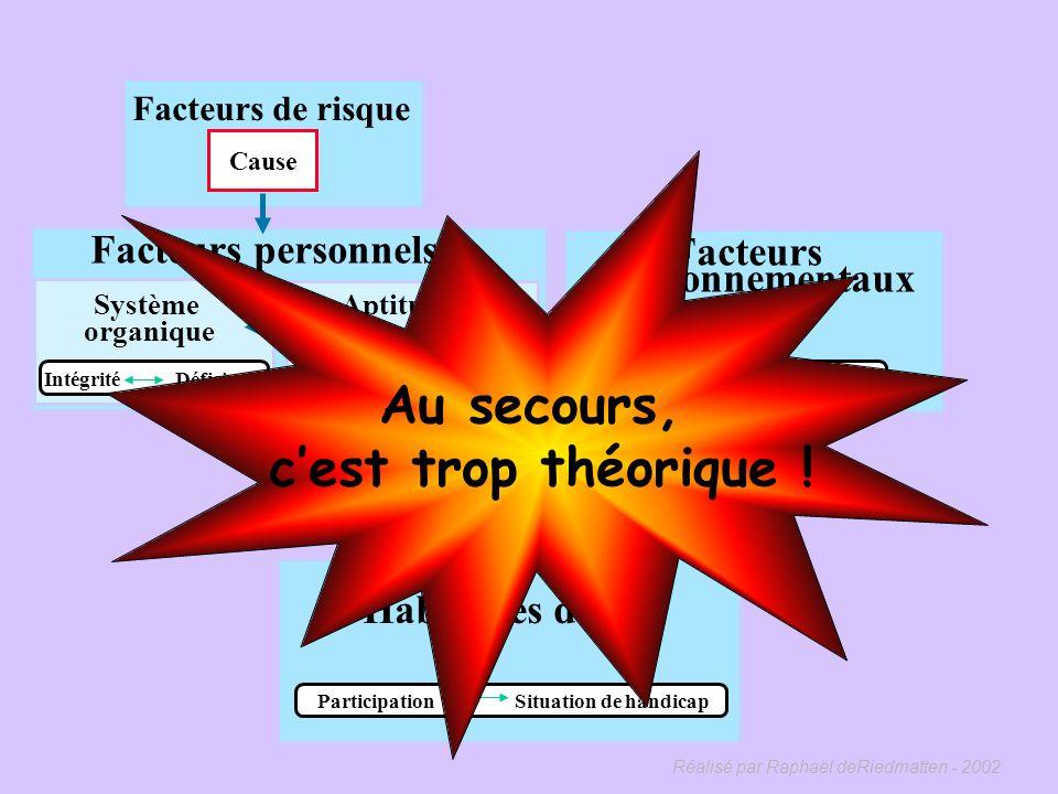 Réalisé par Raphaël deRiedmatten - 2002 « Le processus de production du handicap » Daprès « Classification québécoise Processus de production du handi
