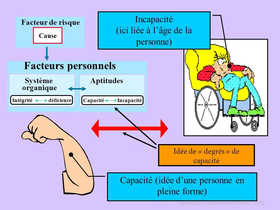 Réalisé par Raphaël deRiedmatten - 2002 Facteurs personnels Système organique Aptitudes Capacité Incapacité Intégrité déficience Facteur de risque Cau